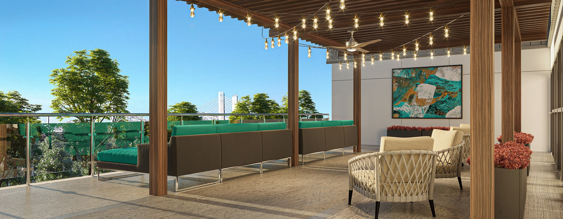 covered, outdoor patio overlooking the Ohio River